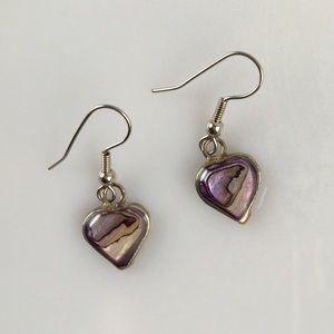 Vintage Abalone Heart Shaped Dangle Hook Earrings